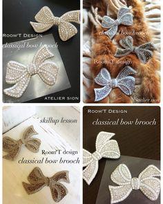 Room'T様考案 【classical bow brooch】 これからの季節大変人気のレッスンです。ホワイト❓ベージュ❓迷いますね〜 認定講師9000円/フリー10000円  #グルーデコ  #グルーデコ®  #習い事  #リボン