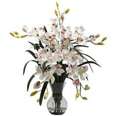34 inch Silk Large Cymbidium Arrangement in Vase: Multiple Colors