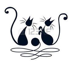 silhouette chat: Deux chats noirs jouant avec pelote de laine sur fond blanc