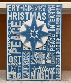 Merry Medley BG, Star of Light, Starlight Thinlits, Circles Collection Framelits, White embossing powder Stampin Up Christmas, Christmas Cards To Make, Christmas Star, Xmas Cards, Handmade Christmas, Holiday Cards, Christmas 2016, Card Making Tutorials, Making Ideas