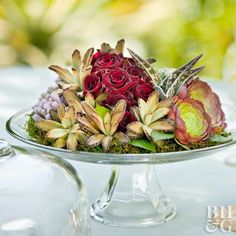 In less than an hour, you can arrange a simple, living succulent and rose centerpiece perfect for any occasion.