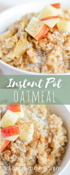 Apple cinnamon Instant Pot Oatmeal is a delicious breakfast that cooks in just 3 minutes! An easily customizable base oatmeal recipe that is easy to make and keep warm before the kids wake up for a good breakfast on a busy morning! The Oatmeal, Apple Cinnamon Oatmeal, Brunch Recipes, Baby Food Recipes, Cooking Recipes, Top Recipes, Amazing Recipes, Fall Recipes, Drink Recipes