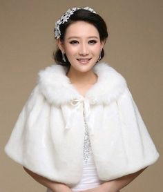 New White Ivory Faux Fur Bridal Wedding Jacket Wrap Shrug Bolero Coat Shawl  Cape 0426ff5d91
