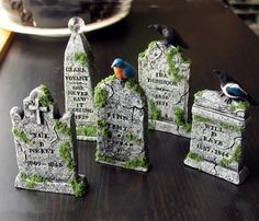 dearly departed halloween miniature tombstone by bewilderandpine