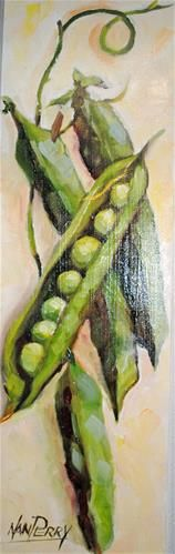"""Daily Paintworks - """"Just Peas 5x15 """" - Original Fine Art for Sale - © Nan Perry"""