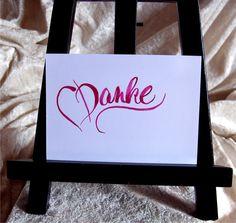 Danksagung - Danke - Rosentinte - Hand Lettering - Karte - ein Designerstück von CatrinKerschl bei DaWanda
