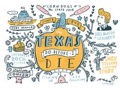 A Texas Bucket List - A few places every Texan should visit. - Illustration by Mike Lowery