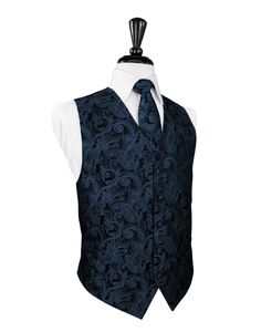Peacock Blue Tapestry Tuxedo Vest