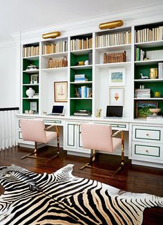 home office decor, luxury interior design ideas, pink and green decor, zebra rug, for more ideas and inspirations: http://www.bocadolobo.com/en/inspiration-and-ideas/