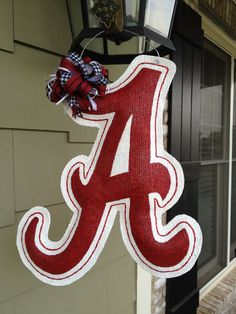 How To Make Burlap Door Hangers | Alabama Burlap Door Hanger by ILoveItDesigns on Etsy