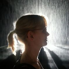 Friend in the rainroom in NYC