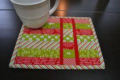 Handmade Quilted Mug Rug Christmas Mug Rug by BundledUpLove