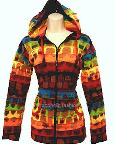 Long Pixie Hooded Hippie Jacket Patched With Owl Prints,Boho Hippy,fullyly lined | eBay