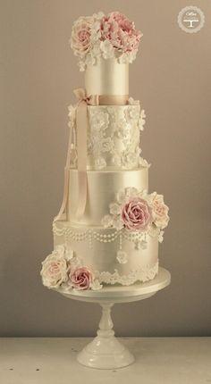 cream and pink cake