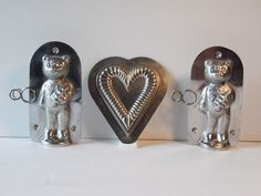 3 Vintage Metal Chocolate Molds, 2 Christmas Bears, 1 Heart, Vintage Candy Molds, Tin Molds, Baking Molds by BessyBellBooks on Etsy