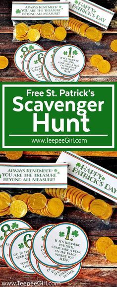 Your kids will love this FREE St. Patrick's Day Scavenger Hunt! Just print and cut out the printables, and watch your kids race to find their treasure! This activity comes with 8 clues and a treat topper. Get it today at http://www.TeepeeGirl.com!