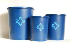 Vintage Kitchenware - Cobalt Blue Tupperware Canister Trio.