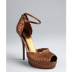 Gucci Brown Leather 'taryn' Ankle Strap Platform Sandals ($572) ❤ liked on Polyvore