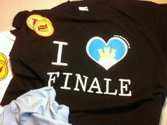 Stampa serigrafica a tre colori su t-shirt  nera. soggetto: I love Finale Emilia