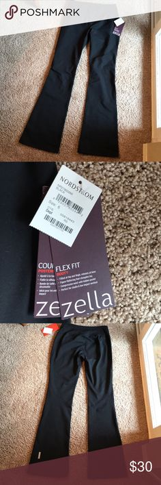 NWT Zella Activewear Yoga Pants Brand new tags, were passed on to me but they aren't my size! Full length with a slight flare at the bottom. Has a compression waist with a hidden pocket! Excellent quality! Zella Pants Boot Cut & Flare