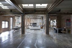 modern industrial office ideas warehouse concrete floors - Google Search