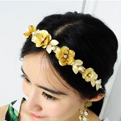 D;atmp G Vintage Gold metal flower Pearl leaves hair bands Baroque headband For Women royal hair accessory-inHair Jewelry from Jewelry on Aliexpress.com | Alibaba Group