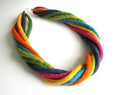 Items similar to Felted necklace rope cords necklace collar hand felted rainbow necklace felt, colourful on Etsy Felt Necklace, Fabric Necklace, Rope Necklace, Pendant Necklace, Textile Jewelry, Fabric Jewelry, Felted Jewelry, Wet Felting, Needle Felting