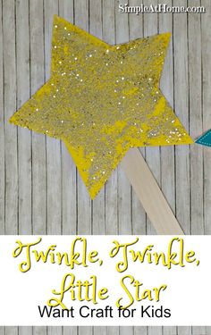 Twinkle, Twinkle, Little Star Wand Craft This Twinkle, Twinkle, Little Star wand art activity is perfect for making this nursery rhyme fun for your preschooler. From Mother Goose Time Nursery Rhyme Crafts, Nursery Rhymes Preschool, Nursery Rhyme Theme, Nursery Rhymes For Toddlers, Christmas Nursery Rhymes, Rhyming Preschool, Rhyming Activities, Toddler Activities, Preschool Shapes