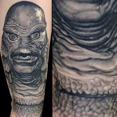 "13 Horror Movie Tattoos that will make you jump out of your skin. #2 Creature from the Black Lagoon. Nikko Hurtado's depiction of the 1954 classic. ""Back in my day, monsters were black and white!"""