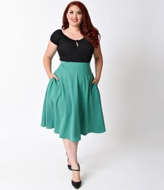 Vivien is short for va-va-voom, dames! An exquisite 1950s reminiscent green plus size swing skirt that rests high on the natural waist, the Vivien skirt is a chic stunner! Fabulously created by Unique Vintage, featuring functional side pockets, thick band