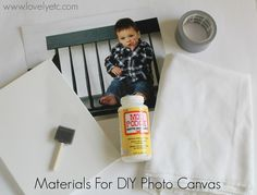 DIY photo canvas materials. Using a piece of canvas will give it the texture of a real canvas photo.