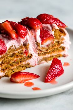 NYT Cooking: Fluffy swirls of strawberry cream are layered with spicy gingersnaps in this summery, no-bake confection. The deep strawberry flavor comes through twice here: once in the mascarpone cream, which is whipped with berry purée, and in a scarlet topping spiked with lime zest and grated fresh ginger. We used Nabisco gingersnaps, but any brand should work, as could vanilla wafers. This cake is best ma...
