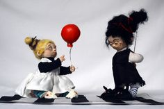 ooak gothic art doll set Lilly& Grendel featured in ART DOLL QUARTERLY black and white artist doll Lina's Four O'Clock Friends Lina Lipinski