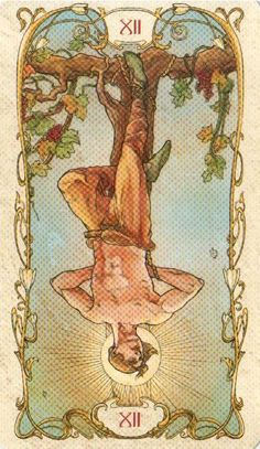 The origins of the Tarot are surrounded with myth and lore. The Tarot has been thought to come from places like Hanged Man Tarot, The Hanged Man, Alphonse Mucha Art, Inspiration Art, Tarot Major Arcana, Tarot Card Meanings, Klimt, Tarot Decks, Art Nouveau