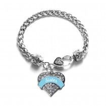 Light Blue Sister Pave Heart Bracelet