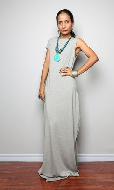 Maxi Dress -  Trendy Light Grey dress : Urban Chic Collection No.17  (Best Seller)