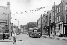 Highgate High Street: NW at South Grove, 1955 Vintage London, Old London, North London, West London, London Wall, London Bus, Stratford Station, Finsbury Park, London View