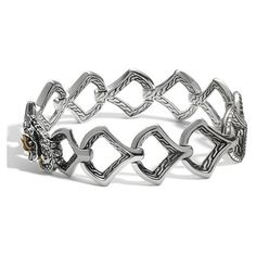 John Hardy Naga Silver Diamond Medium Scale Link Bracelet ($2,800) ❤ liked on Polyvore featuring jewelry, bracelets, silver chain jewelry, diamond bangles, silver bangles, sparkle jewelry and polish silver jewelry