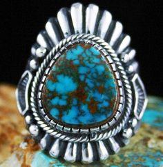 Harry H. Begay Rare Gem Grade Pilot Mountain Spiderweb Turquoise Ingot Ring $895