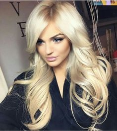 platinum blonde + long wavy hair / #fashion #hairstyles #beauty