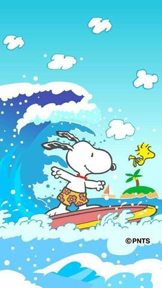 Snoopy surf Snoopy Pictures, Snoopy Images, Snoopy Wallpaper, Disney Wallpaper, Snoopy Love, Snoopy And Woodstock, Peanuts Cartoon, Peanuts Snoopy, Cute Dog Drawing