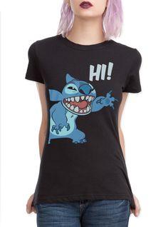 Disney Lilo & Stitch Hi Girls T-Shirt from Hot Topic. Saved to Disney. Lilo Stitch, Stitch Shirt, Disney Stitch, Disney Shirts, Disney Outfits, Disney Clothes, Disney Fashion, Cartoon Fashion, Cartoon Disney