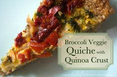 Broccoli Veggie Quiche with Quinoa Crust (gluten free, dairy free) - Candida Free Candee Candida Diet Recipes, Raw Food Recipes, Healthy Recipes, Free Recipes, Veggie Quiche, Broccoli Quiche, Healthy Quiche, Healthy Cooking, Healthy Snacks