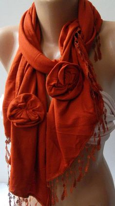 Brick Color  Elegance Shawl / Scarf with Lace Edge by womann