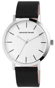 Leonardo Verrelli Uhr Kunst Leder Schwarz Silber Damenuhr Herrenuhr Geschenkidee