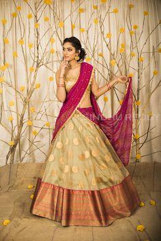 A-Line Wedding Dresses Collections Overview 36 Gorgeou… Half Saree Lehenga, Lehenga Saree Design, Pattu Saree Blouse Designs, Half Saree Designs, Lehnga Dress, Lehenga Gown, Pink Lehenga, Indian Bridesmaid Dresses, Indian Wedding Gowns