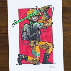 AUCTION! (5.8X8.3 inch, ink & marker) Laser Squad leader Dirk Grangle strikes a pose as he squares off against an enemy. The high-tech squad is second only to the Rocket Gorilla Squad in terms of coolness level. Bidding starts at $30usd, at least $2 increments, comment with bid and tag previous bidder. Auction ends at 10am, December 5 New Zealand time. #ugly_ink #uglyink #ugly #ink #copic #copicmarker #marker #illustration #characterdesign #laser #sword #conan #lightsaber #militaryuniform…