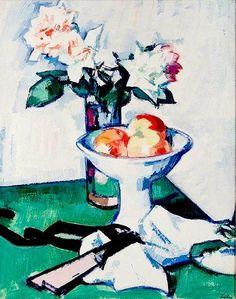Still Life of Roses and a Bowl of Apples on a Green Tablecloth - Samuel Peploe