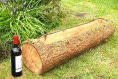 Wood-Log-Planter-Large-95cm-Natural-Flower-Patio-Courtyard-Pot-Planter