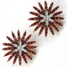 Trifari-Philippe-Ruby-amp-Diamante-Larger-039-Starflight-039-039-Fireworks-039-Clip-Earrings #vintagejewelry